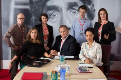 Hugh Bonneville, centre, and his W1A co-stars - Jason Watkins, Jessica Hynes,   Monica Dolan,  Hugh Skinner, Nina Sosanya, and Sarah Parish