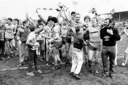 Celtic players celebrate with their fans after beating St Mirren 5-0 to clinch the 1986 league title