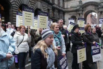 Care workers went on strike last month over council plans