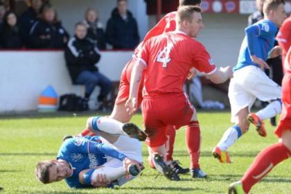 Ian Black was stretchered off after coming off second best in this challenge at Brechin