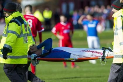 Ian Black is stretchered off after being injured against Brechin