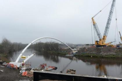 The steel structure is put in place across the Clyde to link Dalmarnock and Shawfield                            Picture: Nick Ponty