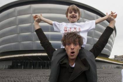 Paolo Nutini joins young people who receive music therapy from Nordoff Robbins Scotland to celebrate the partnership between the charity and the SSE Hydro. Paolo is with Jamie Nicolson, 7, above, and Ross Kinney, 12, and Jackson Shepherd,11, left  Pictures: Chris James