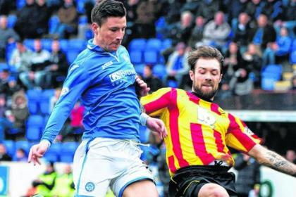 Partick Thistle's Jordan McMillan puts a challenge in against Michael O'Halloran during the draw with St Johnstone