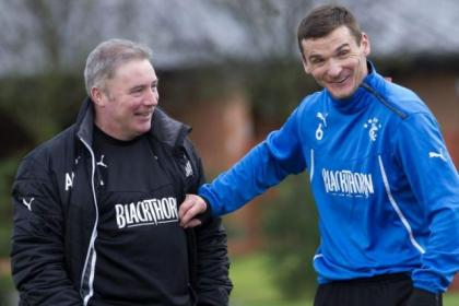 Rangers boss Ally McCoist and Lee McCulloch share a joke at training
