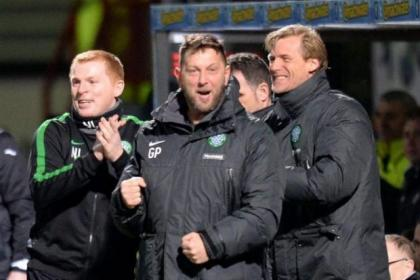Celtic boss Neil Lennon with backroom staff Garry Parker and Johan Mjallby celebrate last week's win at Firhill