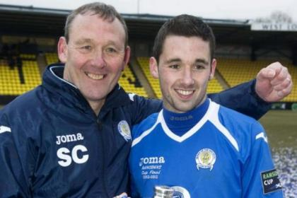 Nicky Clark with his proud father Sandy, then assistant manager at Queen of the South, with the Ramsden's Cup they won last year