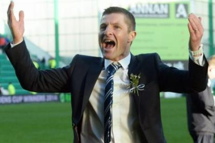 Raith Rovers manager Grant Murray celebrates at the end of the game