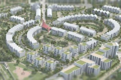 An artist's impression shows how the existing Sighthill area, inset, will be transformed by the development plan