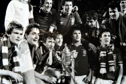 Ally Dawson (with trophy, beside Derek Johnstone) hails Gers' 1981 Scottish Cup success