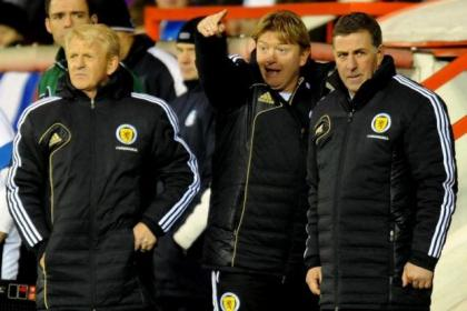 Scotland's coaching team of Gordon Strachan, Stuart McCall and Mark McGhee