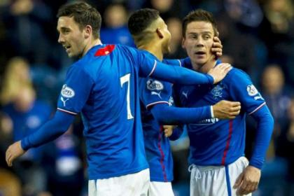 Ian Black celebrates his goal against Forfar with team-mates Nicky Clark and Arnold Peralta