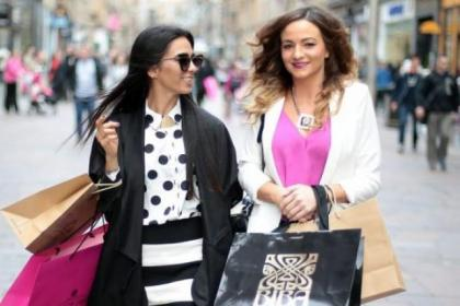 Nadine Artois and Kristina Wilson hit the late-night shopping high spots in Glasgow's Buchanan Street