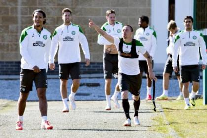 Skipper Scott Brown clearly had a point to make to Virgil van Dijk and his Celtic team-mates before they began their training session at Lennoxtown