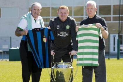 Neil Lennon joined Lisbon Lions Bertie Auld and John Clark, right, to promote next month's return to Portugal