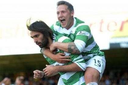 Georgios Samaras celebrates his goal with team-mate Kris Commons