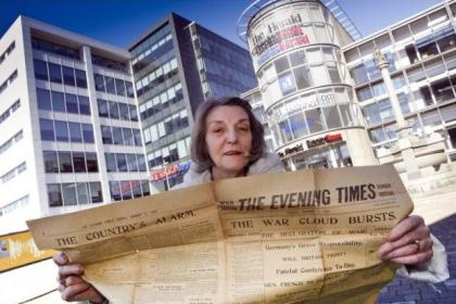 Morag Mennie has given the newspaper and a special edition to the Evening Times archives     Picture: Phil Rider