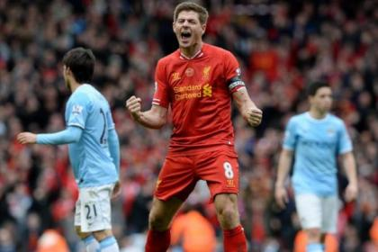 Steven Gerrard celebrates Liverpool's 3-2 victory against Manchester City earlier this month