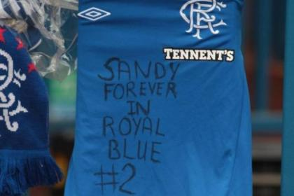 One of the many Rangers strips left in tribute to Sandy Jardine at Ibrox
