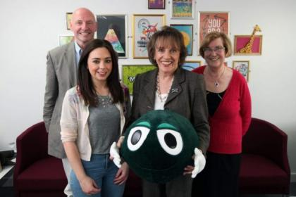 Esther met Childline volunteers Bill Kerins, Fionnuala O'Neill, and Lily Shand in Glasgow               Picture: Colin Templeton