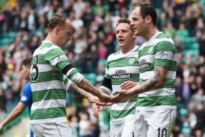 Celtic's hat-trick hero Anthony Stokes celebrates with Leigh Griffiths and Kris Commons