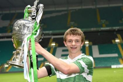 Aiden Nesbitt holds aloft the Glasgow Cup, main, after his second-half goal won the final