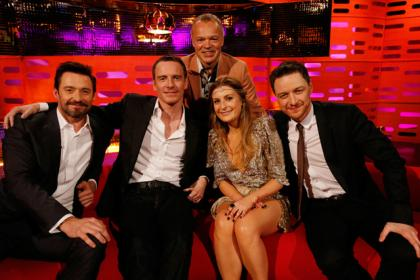 Hugh Jackman, Michael Fassbender, Graham Norton, Great Britain Eurovision performer Molly, and James McAvoy