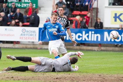 Rangers' Dean Shiels scores the first goal during the Scottish League One match at East End Park, Dunfermline
