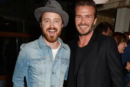 David Beckham is pictured with Breaking Bad star Aaron Paul