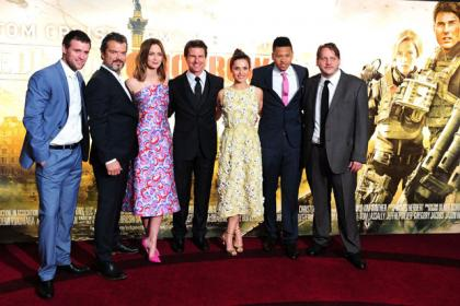 Jonas Armstrong, Dragomir Mrsic, Emily Blunt, Tom Cruise, Charlotte Riley, Franz Drameh and Tony Way attending the world premiere of Edge Of Tomorrow at the Imax cinema in London