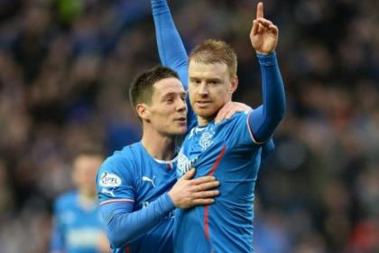 Stevie Smith celebrates scoring with team-mate Ian Black during Rangers' 2-0 win against Dunfermline at Ibrox in March