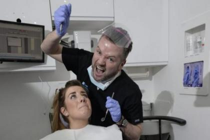 Edward Reid  stars as The Dentist in a  Little Shop of Horrors at Websters, with patient Alison McGrail in  the chair