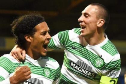 Scott Brown congratulates Virgil van Dijk on his goal against St Johnstone