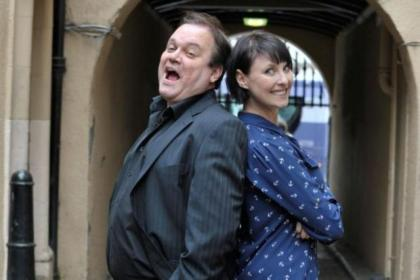 Emma Barton with  Shaun Williamson, her co-star in One Man Two Guvnors, which opens at the King's Theatre on June 30. Picture: Nick Ponty