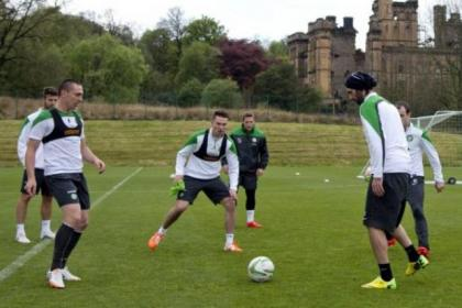 Scott Brown, Derk Boerrigter, Kris Commons and Georgios Samaras can't wait to lift the league trophy