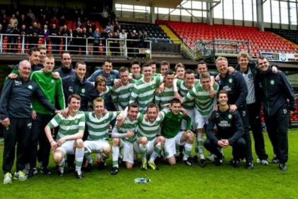 Celtic Under-20s and backroom staff celebrate title win at Tannadice