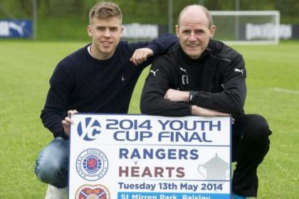Rangers U20 captain  Andy Murdoch and coach Gordon Durie promote tonight's game in Paisley