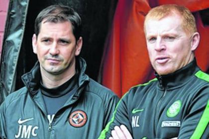 Neil Lennon (right) with Dundee United manager Jackie McNamara