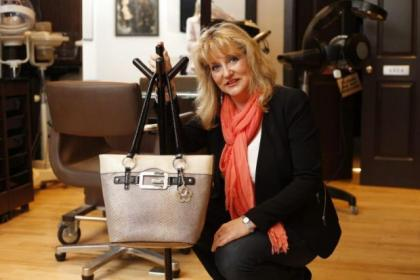 Fiona Douglas with her tableside bag stand