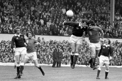 Derek Johnstone heads the opener in 1976 Scottish Cup final against Hearts ... before the clock had reached 3pm