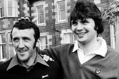 Scotland team-mates Danny McGrain and Derek Johnstone at Seamill in 1977