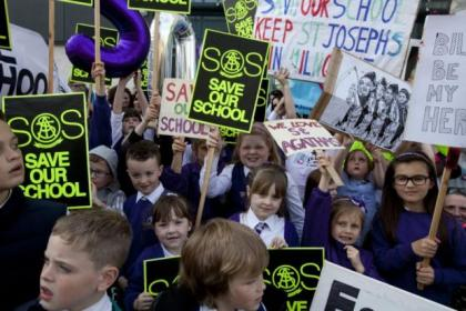 Angry parents protested against the school closure