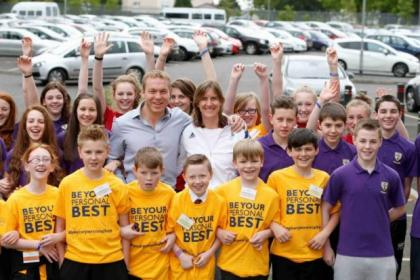 Sir Chris Hoy and Katherine Grainger delighted pupils with a surprise visit