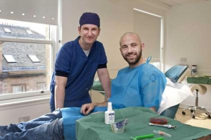James McFadden is sporting a new hairdo after his transplant