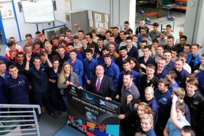 First Minister Alex Salmond  toured the East Kilbride Group Training Association facility