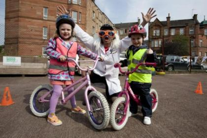 Play on Pedals' Professor Balance helped cyclists Molly Paterson, 3, and Lucas Watson, 4, saddle-up for the challenge aheadPicture:  Mark Gibson