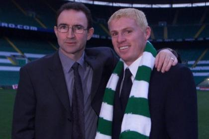 Martin O'Neill with new signing Neil Lennon in 2000