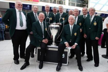 The Lisbon Lions at Glasgow Airport yesterday before flying out to Portugal for the European Champions League final between Atletico and Real Madrid