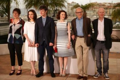 Producer Rebecca O'Brien, actress Aisling Francios, actor Barry Ward, actress Simone Kirby, director Ken Loach and writer Paul Laverty attend the Jimmy's Hall screening at the Cannes Film Festival