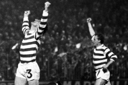 Tommy Gemmell celebrates after opening the scoring for Celtic in their 2-1 defeat by Feyenoord in the 1970 European Cup final